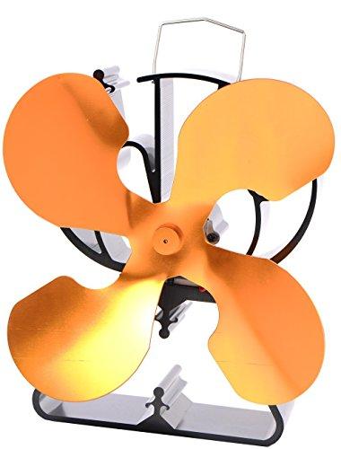 4-Blade Heat Powered Stove Fan for Wood / Log Burner/Fireplace...