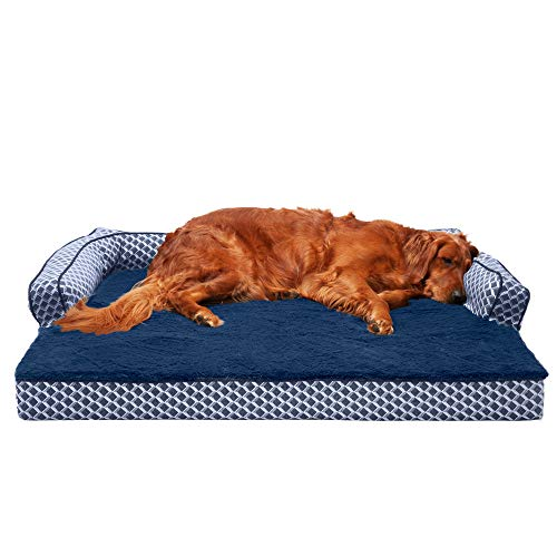 Furhaven Pet Dog Bed - Orthopedic Plush Faux Fur and Décor Comfy Couch Traditional Sofa-Style...