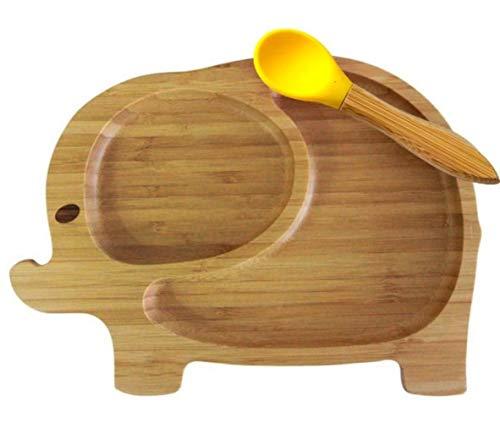 LASISZ SaugschaleBambus Silikon Saugnapf Baby Teller Fütterung Bambus Kinder Geschirr Geschirr Baby Schüssel Baby Fütterungsschale, YellowPlateandSpoon