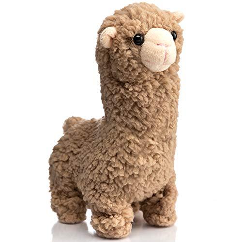 HollyHOME Plush Alpaca Stuffed Animal Llama Plush Electronic Interactive Toy Walking, Bleating, Nodding Head 8 Inches Brown
