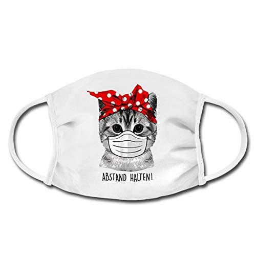 Spreadshirt Katze Mit Bandana Rockabilly Abstand Halten Spruch Mund-Nasen-Bedeckung, Weiß