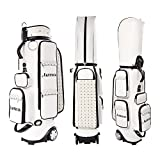 Golf Cart Bag Wheeled Leather Golf Club Bags for Men Transit Golf Bag Easy to Carry & Durable with Rain Cover
