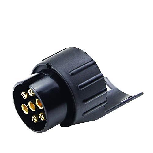 Vozada Adaptador de Remolque Eléctrico de 7 a 13 Pines, 12 V, Conector de Enchufe para Coche y Caravanas, Enchufe de Remolque Impermeable, Negro