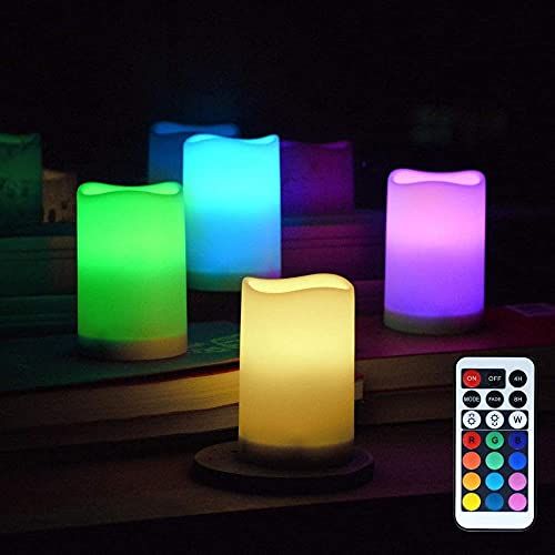 4Pack LED Flameless Candles Battery Operated Changing Color Candles Light Remote Control 13 Colors Pillar Candle Sets for Party Home Christmas Wedding Room Decor Improve