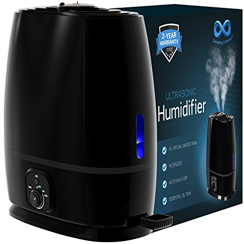 Everlasting Comfort Humidifiers for Bedroom (6L) - Humidifier with Essential Oil Tray (Black)