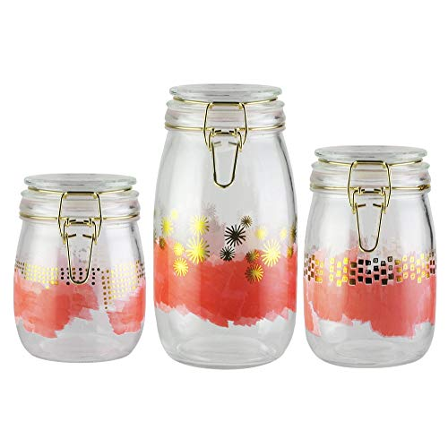 Style Setter Soiree Pink Set of Three Hermetic Glass Jars 25 34 and 51 oz Capacity Kitchen Food Storage Canister Set Dry Goods Pasta Rice Flour Sugar Cereal Coffee Tea Leaves