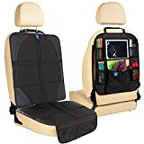 Car Seat Protector + Kick mats Back seat Protector Organizer Black with Multi Pocket for Large Storage - Durable Quality Seat Covers + Waterproof Kick Guards