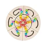 Huaxingda Juego de mesa giratoria de inteligencia Montessori Reconocimiento de Color Bola de Madera Juguete Clasificación de Color y Contando Aprendizaje Preescolar