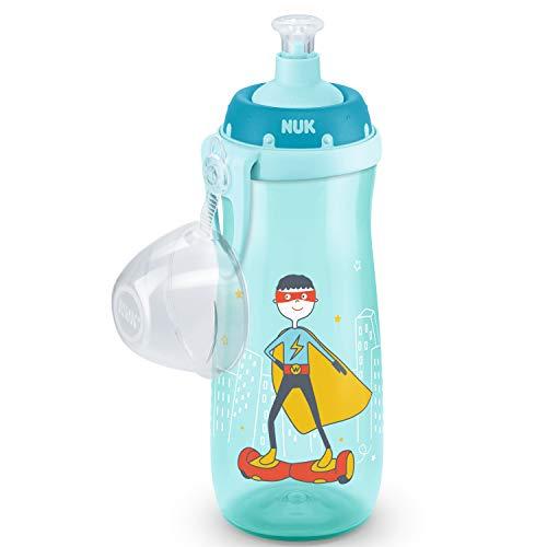 Nuk Sports Cup - Botella para aprender a beber a prueba de fugas, boquilla de silicona push-pull, tapa protectora y clip, 450 ml, color turquesa y azul
