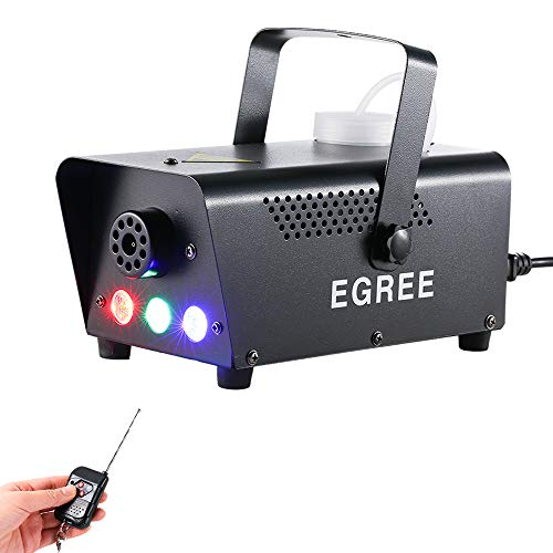 EGREE Fog Machine with Controllable lights – 500W Professional DJ LED Smoke Machine 3 Color Lights with Wireless Remote…