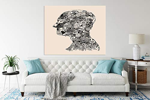 """5D Diamond Painting,Diamond Painting Set Steampunk Cogs and Gears Human Head Cyborg Robot Mechanism Anatomy Face Eye Suitable as Gifts Gem Art Drill,Toys,Home Games,Wall Decoration,16""""x20"""""""
