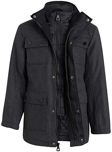Urban Republic Boys' Wool Dress Coat with Zipper Closure with Bib Insert, Size 10/12, Pure Charcoal