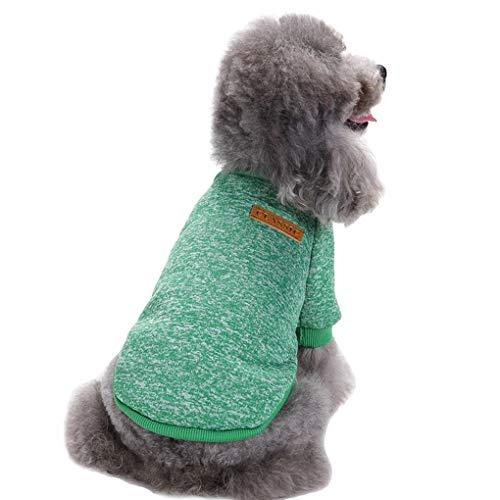 Chborless Haustier-Pullover, warmer Hunde-Pyjama, weich, für kleine Hunde, Large, grün
