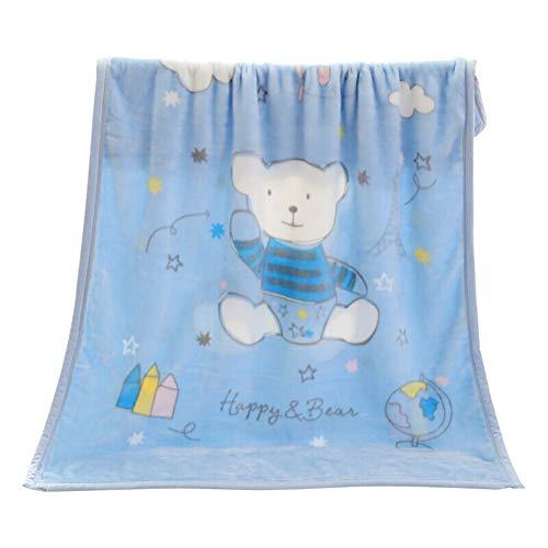 Ljings Superweiche Kindersteppdecke & Flauschige Große Gemusterte Jungen- / Mädchendecke, Außendecke/Autositz, Babybettwäsche 140X100cm,Blau