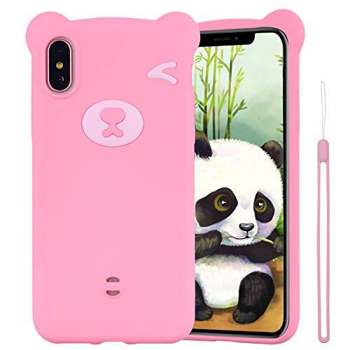 ChoosEU Compatibel met iPhone XS/iPhone X silicone patroon beer kleurrijke beschermhoes zacht voor meisjes vrouwen vrouwen vrouwen vrouwen stootvast rubber mat slim bescherming (Cordo) - roze
