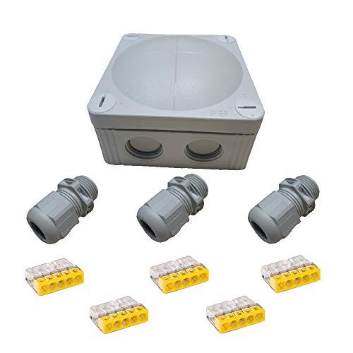 Verdeeldoos verbindingsdoos set voor buiten 9-delig - verdeeldoos IP66 IP65 IP67 opbouw vochtige ruimte kabelconnector