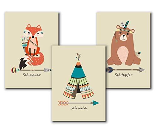 Indianer Tierbilder Set | Kunstdruck Kinderzimmer Poster | Babyzimmer | DIN A4 | Kinderposter