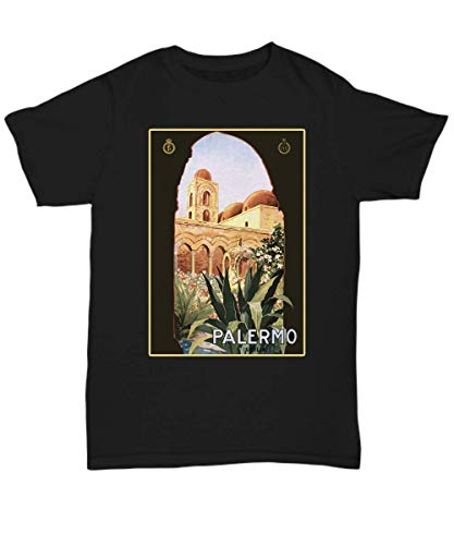Palermo, Sicily, Italy Italy - Vintage Travel Poster Design - Unisex Tee Black