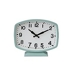 Creative Co-op DA4858 Aqua Metal Table Clock