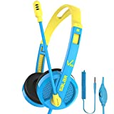 Kids Headphones Wired Over Ear Headphone Stereo Earphones Volume Control Safe Adjustable Headband Headsets with Mic 3.5mm Jack for Kids Boys Girls Adult Learning School Laptop PC Tablet (Blue)