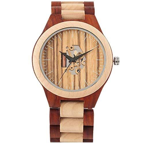 ShenMiDeTieChui Reloj de Madera Lleno de Hombres Reloj de Madera Negro de ébano de ébano de Moda, Reloj, Reloj, Reloj, Reloj, Reloj de muñeca Retro (Color : A)