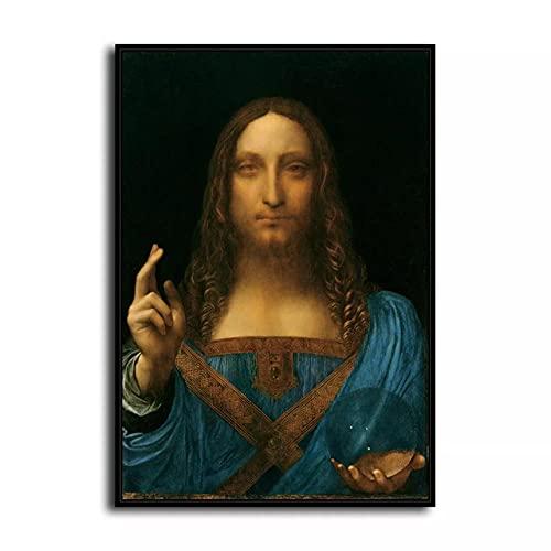 DFRES Pinturas Famosas De Leonardo Da Vinci El Salvador Reproducciones De Poster Impresiones En Lienzo Arte De La Pared De La Salon Decoracion Cuadros 50x70cm Sin Marco
