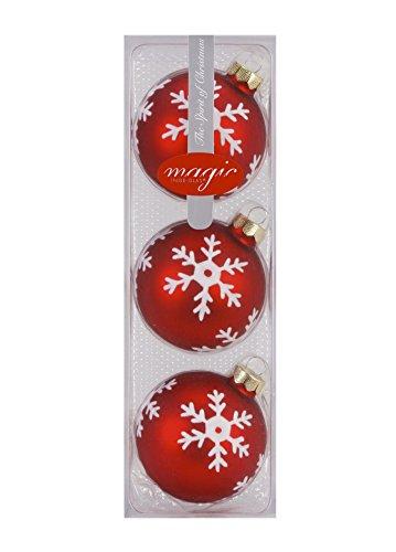 I. Christmas Decor SchmuckDesign-Nord Lot de 3 Boules de Noël en Verre Motif Flocon de Neige Rouge Mat 8 cm