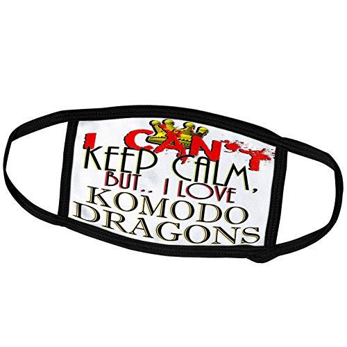 3dRose Blonde Designs I Cant Keep Calm, But I Love - I Cant Keep Calm, Komodo Dragons - Face Masks (fm_242094_3)