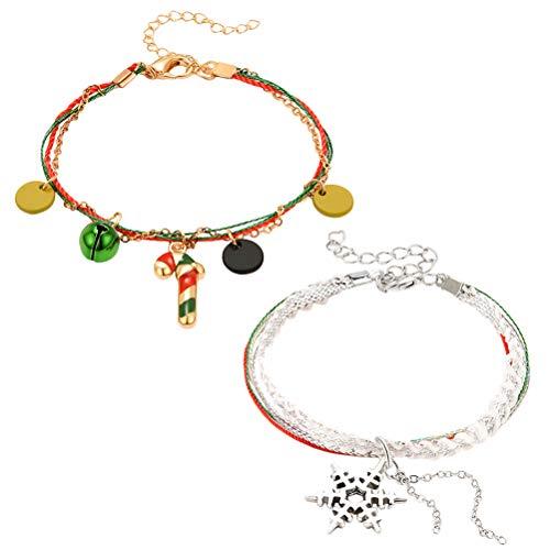 Amosfun Candy Cane Bell Charm cadena festiva copo de nieve cuerda pulsera pulsera para mujer fiesta regalo de Navidad