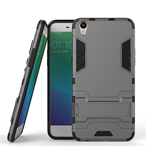 ZHIWEI Das tragbare Handy Tasche Für Oppo R9 Plus Standhalter-Handygehäuse, robuste Kickstand-Rückseite, Schutzhülle (Color : Gray)