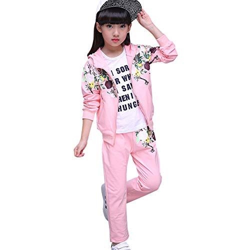 L PATTERN Kinder Mädchen 2tlg Bekleidungsset Zweiteiler Trainingsanzug Sportanzug Outfit-Set Jogginganzug Freizeitanzug(Jacke + Hose) mit Blumen-Muster,Rose,128-134
