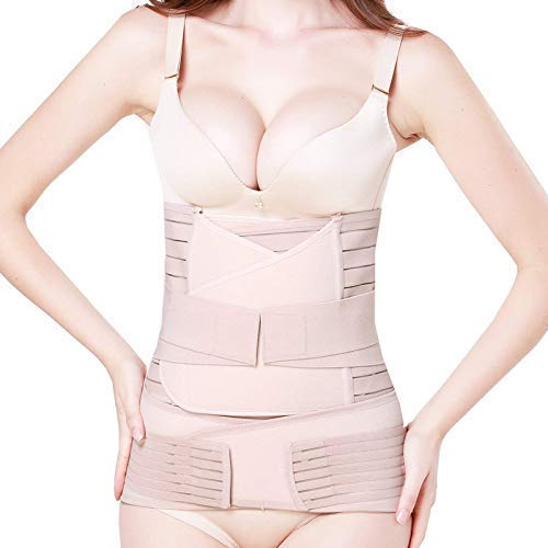 elebae Women's 3 in 1 Postpartum Support Recovery Pelvis Waist Trainer Postnatal Shapewear Belly Wrap Girdle Body Shaper Slimming C-Section Belt (Small, Skin)