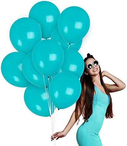Solid Blue Teal Balloons 12 Inch Matte Turquoise Balloons Aqua Balloons 100 Pack for Mermaid product image