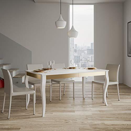 Itamoby, Mesa extensible Holanda Iron 160 -> 264, paneles de melamina, blanco fresno y dorado, 160 x 90 x 80 cm (extensible hasta L.264 con dos extensiones)