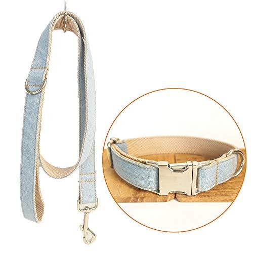 TVMALL Hund Leine Halsband Set Verstellbar Outdoor Pet Set Halsband Heavy Duty Denim Hund Leine Halsband für Kleine Mittelgroße und Große Hunde