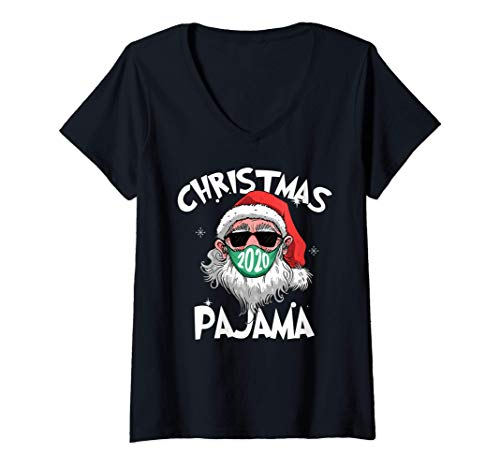 Mujer Papá Noel con mascarilla Navidad 2020 Pijamas familiares Camiseta Cuello V