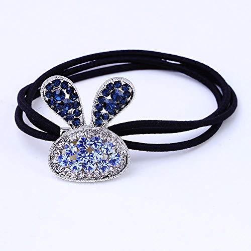 Tête de corde petite personnalité fraîche et simple queue de cheval personnalité des cheveux adultes bande élastique couvre-chef étui en cuir polyvalent, bleu lapin