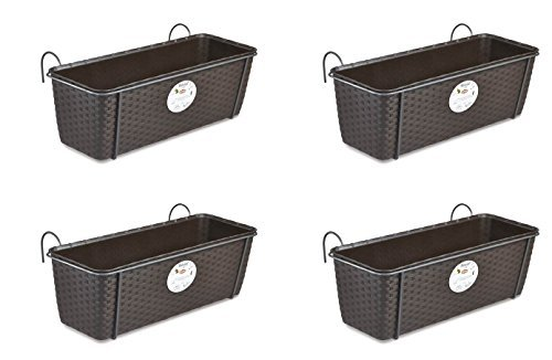 4 Stück Pflanzkasten im Rattan Design mit integriertem Wasserspeicher und Metallrahmen für Geländer Aller Art oder zum Aufstellen, Maße B 50 x H 18 x T 16 cm, Farbe braun