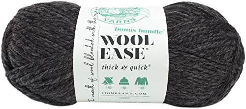 Lion Brand Yarn 641-149 Wool-Ease Thick and Quick Bundle Yarn, Charcoal