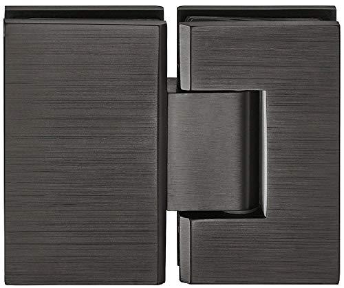 Hedendaagse glazen deurbeslag douchedeurband voor glazen deuren en douchecabines - H2048 | Glazen deurband voor wand tot glas verbinding | Baddeurscharnier voor 180 ° glazen front | 1 stuk - messing deurband zwart