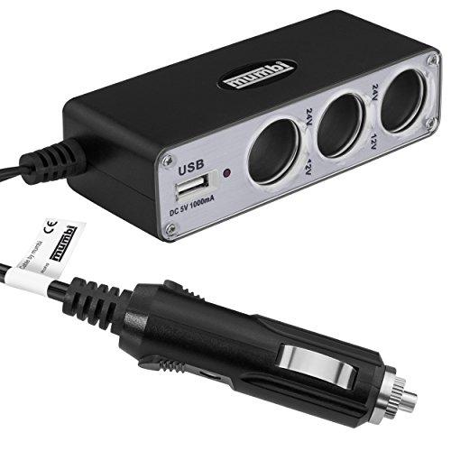 mumbi Auto Ladegerät Steckdose - Multifunktion KFZ 3-fach Verteiler + USB Buchse für Zigarettenanzünder 12V / 24V