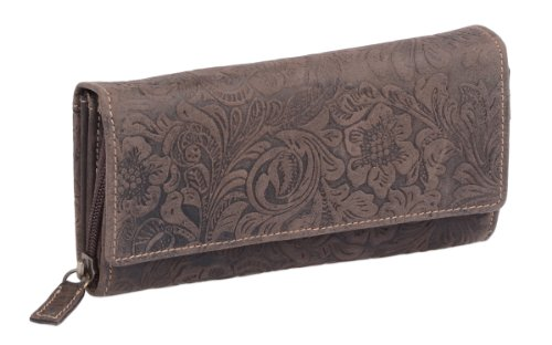 LEAS Große Damenlangbörse natur RFID Schutz Echt-Leder, dunkelbraun Vintage-Collection