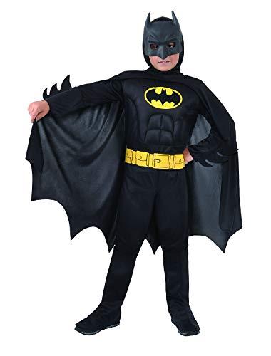 Ciao- Batman 2-in-1 (Classic/Dark Knight) Costume Originale DC Comics (Taglia 10-12 Anni) con Muscoli pettorali Imbottiti Bambino, Nero, Girgio, 5-7, 11720.5-7