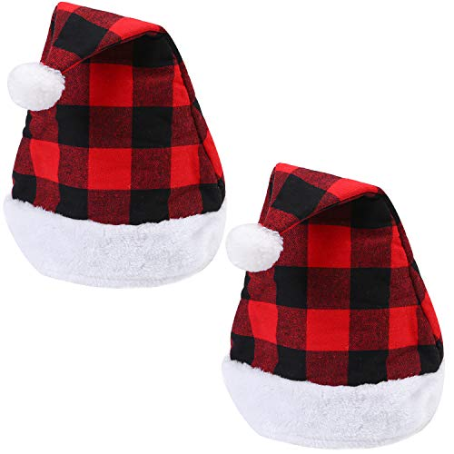 Aneco Santa Red Hat Christmas Plaid Santa Hat Short Plush with White Cuffs Plush Fabric Christmas Hat for Adults and Kids