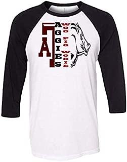 Handmade Football Shirt House Divided University of Arkansas Texas A and M Aggies Half A and M Half hog