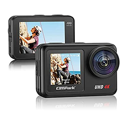 Campark V40 4K/30FPS WiFi Action Camera 20MP Touch Screen 40M Waterproof Camera EIS Remote Control Sports Camera with 2X 1350mAh Batteries and Helmet Accessories Compatible with gopro by Campark