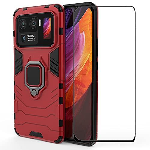 DoAo Para Xiaomi Mi 11 Ultra Case Soft TPU Bumper Hard PC BackCover,Kickstand incorporado,Protector de pantalla de vidrio templado para Xiaomi Mi 11 Ultra-Rojo
