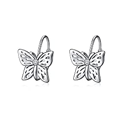 Butterfly Dangle earring In Sterling Silver With Rhinestone