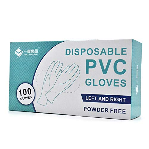 Vinyl Handschuhe PVC Handschuh Medizinische Untersuchungshandschuhe Latexfrei Puderfrei Unsteril Ohne LaTeX Transparente Handschuhe Einweghandschuhe XL 100 Stück