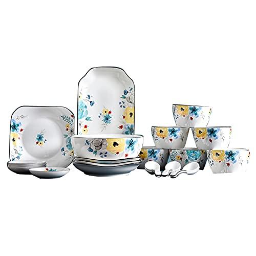 YWTT Conjunto de Platos Pintados a Mano, cerámica para el hogar Cuencos Vintage de vajilla de 29 Piezas Juego de vajillas Placa de Postre para 6 Personas,8 pcs